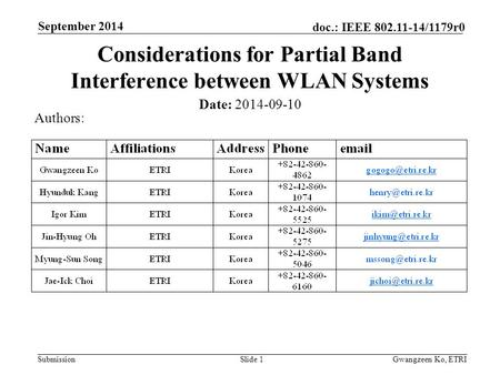 Submission doc.: IEEE 802.11-14/1179r0 September 2014 Gwangzeen Ko, ETRISlide 1 Considerations for Partial Band Interference between WLAN Systems Date: