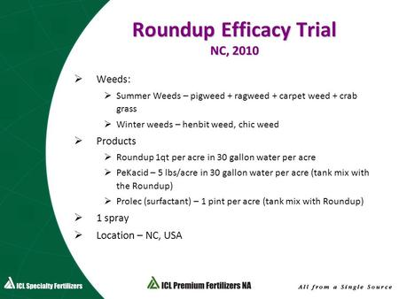 Roundup Efficacy Trial NC, 2010  Weeds:  Summer Weeds – pigweed + ragweed + carpet weed + crab grass  Winter weeds – henbit weed, chic weed  Products.