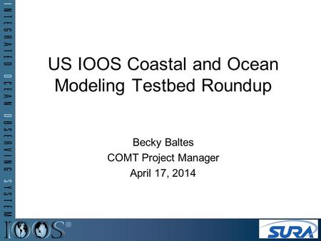 US IOOS Coastal and Ocean Modeling Testbed Roundup Becky Baltes COMT Project Manager April 17, 2014.