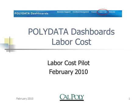 February 20101 POLYDATA Dashboards Labor Cost Labor Cost Pilot February 2010.
