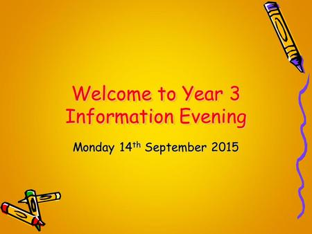 Welcome to Year 3 Information Evening Monday 14 th September 2015.