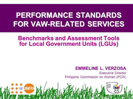 1 Benchmarks and Assessment Tools for Local Government Units (LGUs) PERFORMANCE STANDARDS FOR VAW-RELATED SERVICES EMMELINE L. VERZOSA Executive Director.