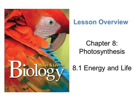 Chapter 8: Photosynthesis 8.1 Energy and Life