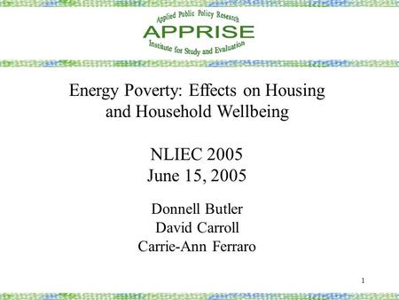 1 Energy Poverty: Effects on Housing and Household Wellbeing NLIEC 2005 June 15, 2005 Donnell Butler David Carroll Carrie-Ann Ferraro.