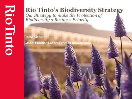 Rio Tinto's Biodiversity Strategy Our Strategy to make the Protection of Biodiversity a Business Priority Paola Kistler Global Practice Leader Product.