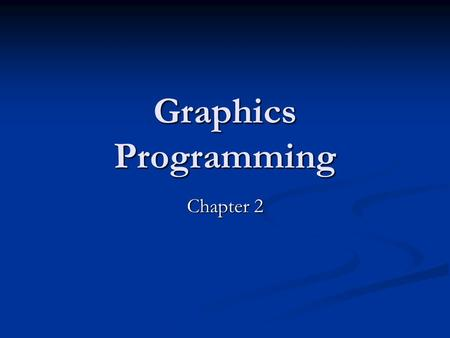 Graphics Programming Chapter 2. CS 480/680 2Chapter 2 -- Graphics Programming Introduction: Introduction: Our approach is programming oriented. Our approach.