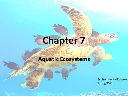 Chapter 7 Aquatic Ecosystems Environmental Science Spring 2011.
