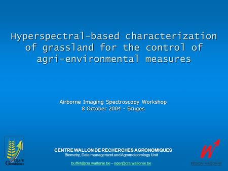 Hyperspectral-based characterization of grassland for the control of agri-environmental measures Airborne Imaging Spectroscopy Workshop 8 October 2004.