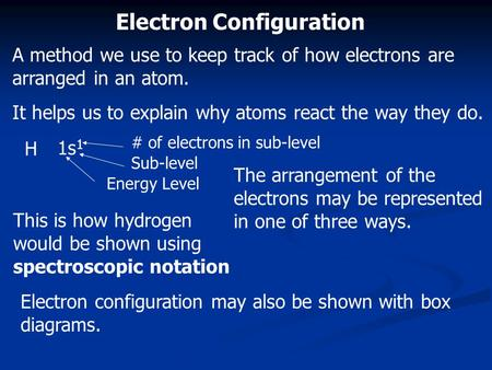 Electron Configuration A method we use to keep track of how electrons are arranged in an atom. It helps us to explain why atoms react the way they do.
