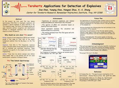 Terahertz Applications for Detection of Explosives Jian Chen, Yunqing Chen, Hongwei Zhao, X.-C. Zhang Center for Terahertz Research, Rensselaer Polytechnic.