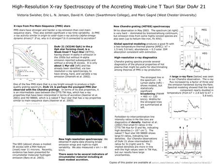 High-Resolution X-ray Spectroscopy of the Accreting Weak-Line T Tauri Star DoAr 21 Victoria Swisher, Eric L. N. Jensen, David H. Cohen (Swarthmore College),