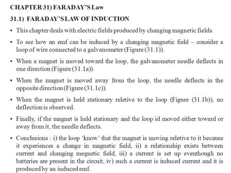 CHAPTER 31) FARADAY'S Law