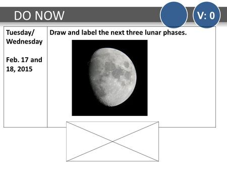 DO NOW V: 0 Tuesday/ Wednesday Feb. 17 and 18, 2015 Draw and label the next three lunar phases.