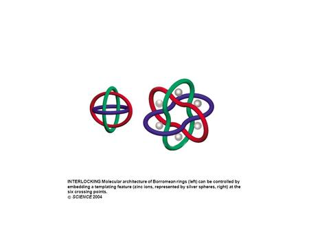 INTERLOCKING Molecular architecture of Borromean rings (left) can be controlled by embedding a templating feature (zinc ions, represented by silver spheres,