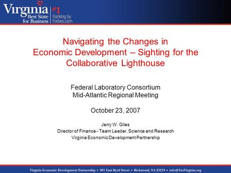 Navigating the Changes in Economic Development – Sighting for the Collaborative Lighthouse Federal Laboratory Consortium Mid-Atlantic Regional Meeting.