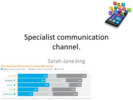 Specialist communication channel. Sarah-Jane king.