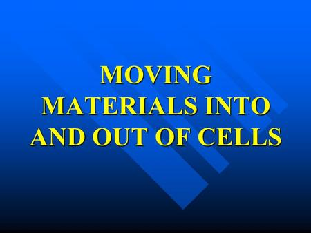MOVING MATERIALS INTO AND OUT OF CELLS. MATERIAL MOVEMENT PASSIVE TRANSPORT ACTIVE TRANSPORT.