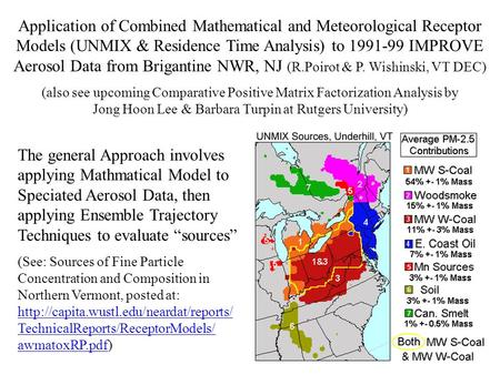Application of Combined Mathematical and Meteorological Receptor Models (UNMIX & Residence Time Analysis) to 1991-99 IMPROVE Aerosol Data from Brigantine.