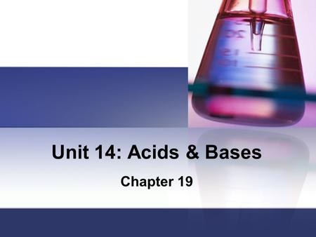 Unit 14: Acids & Bases Chapter 19. Review: Naming an Acid Binary acids (H + nonmetal): hydro ______ic acid Ternary acids (H + polyatomic ion): –ate ions: