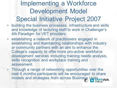 Implementing a Workforce Development Model Special Initiative Project 2007 building the business processes, infrastructure and skills and knowledge of.