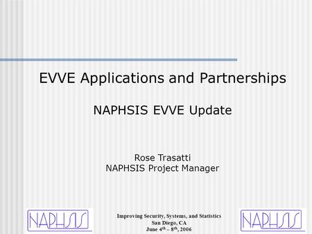 Improving Security, Systems, and Statistics San Diego, CA June 4 th – 8 th, 2006 EVVE Applications and Partnerships NAPHSIS EVVE Update Rose Trasatti NAPHSIS.