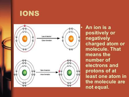 IONS An ion is a positively or negatively charged atom or molecule. That means the number of electrons and protons of at least one atom in the molecule.