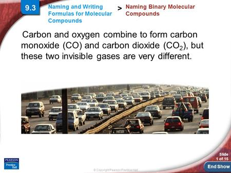 End Show Slide 1 of 15 © Copyright Pearson Prentice Hall Naming and Writing Formulas for Molecular Compounds > Carbon and oxygen combine to form carbon.