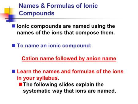 Names & Formulas of Ionic Compounds Ionic compounds are named using the names of the ions that compose them. To name an ionic compound: Cation name followed.