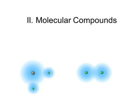 II. Molecular Compounds. Covalent Bonding A major type of atomic bonding occurs when atoms share electrons.atoms As opposed to ionic bonding in which.