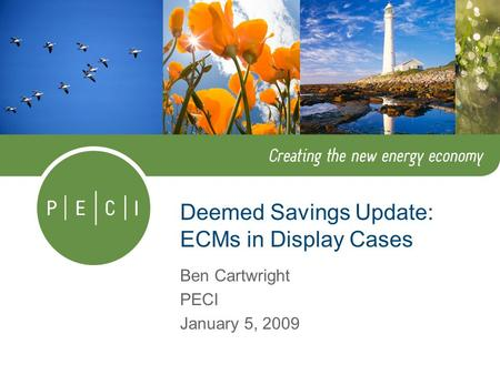 Deemed Savings Update: ECMs in Display Cases Ben Cartwright PECI January 5, 2009.