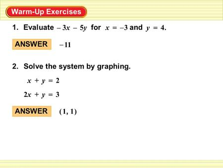 Warm-Up Exercises Evaluate for and1. 4.4. y = 3x3x–5y5y – 3x = – Solve the system by graphing.2. 2x+y = 32x2x+y = ANSWER 11 – ANSWER () 1, 1.