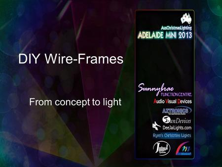 DIY Wire-Frames From concept to light. DIY Wire-Frames Topics –Designing your wire frame –Creating a design template –Building Bending wire Joining wire.