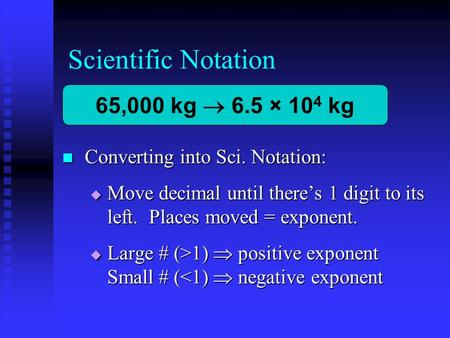 Scientific Notation Converting into Sci. Notation: Converting into Sci. Notation:  Move decimal until there's 1 digit to its left. Places moved = exponent.