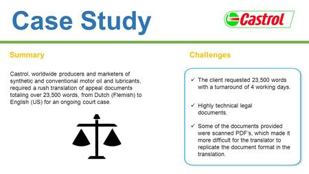 Case Study SummaryChallenges Castrol, worldwide producers and marketers of synthetic and conventional motor oil and lubricants, required a rush translation.
