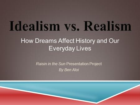 How Dreams Affect History and Our Everyday Lives Raisin in the Sun Presentation Project By Ben Aloi.