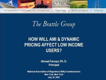 HOW WILL AMI & DYNAMIC PRICING AFFECT LOW INCOME USERS? Ahmad Faruqui, Ph. D. Principal National Association of Regulatory Utility Commissioners New York,