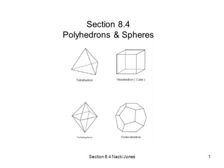 Section 8.4 Nack/Jones1 Section 8.4 Polyhedrons & Spheres.