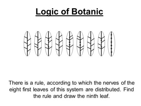 Logic of Botanic There is a rule, according to which the nerves of the eight first leaves of this system are distributed. Find the rule and draw the ninth.