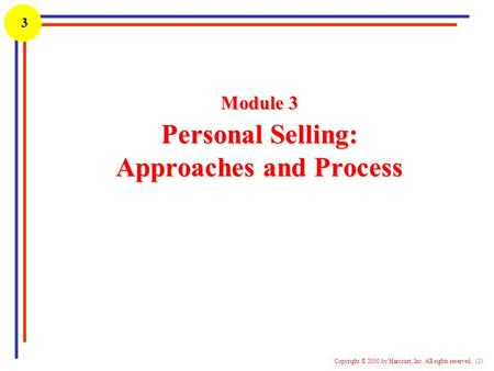 Module 3 Personal Selling: Approaches and Process