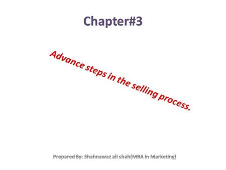 Summary of the chapter. Modern selling is quite different from the structure of primary step in the selling process. the term advance selling techniques.