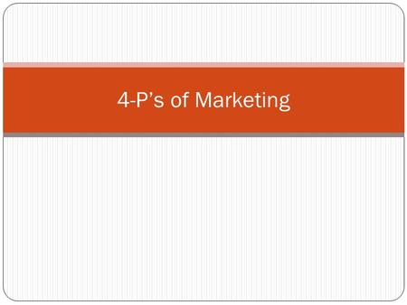 4-P's of Marketing. THE 4 P's of Marketing - The four strategies of the marketing mix (product, price, promotion and place) are interconnected. Action.