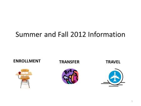 Summer and Fall 2012 Information ENROLLMENT TRANSFERTRAVEL 1.