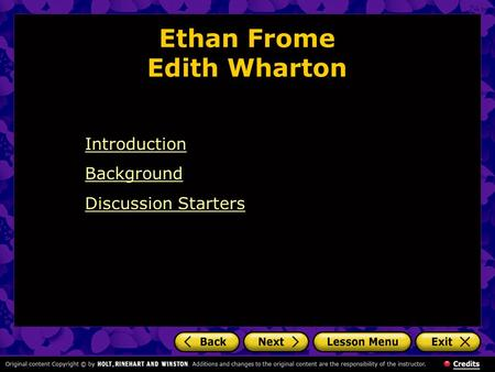 Ethan Frome Edith Wharton Introduction Background Discussion Starters.