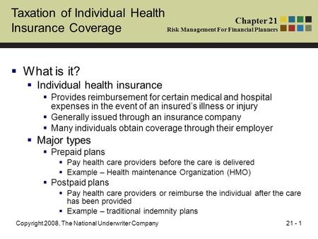 21 - 1Copyright 2008, The National Underwriter Company Taxation of Individual Health Insurance Coverage  What is it?  Individual health insurance  Provides.