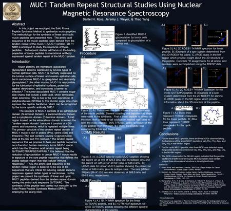 MUC1 Tandem Repeat Structural Studies Using Nuclear Magnetic Resonance Spectroscopy Daniel H. Rose, Jeremy J. Weyer, & Thao Yang Abstract In this project.