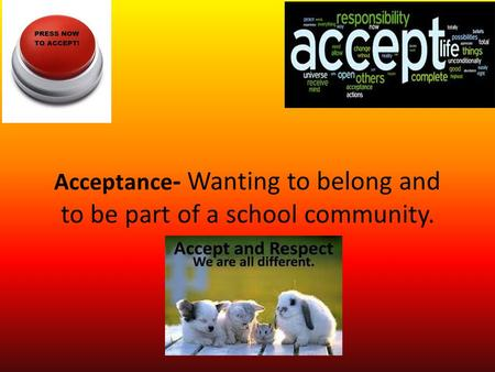 Acceptance - Wanting to belong and to be part of a school community.