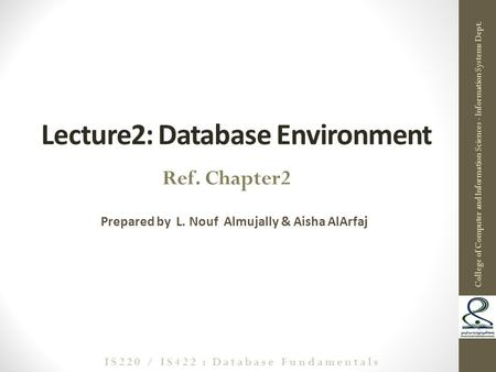 Lecture2: Database Environment Prepared by L. Nouf Almujally & Aisha AlArfaj 1 Ref. Chapter2 College of Computer and Information Sciences - Information.
