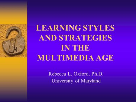 learning styles and strategies pdf