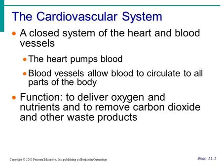 The Cardiovascular System Slide 11.1 Copyright © 2003 Pearson Education, Inc. publishing as Benjamin Cummings  A closed system of the heart and blood.