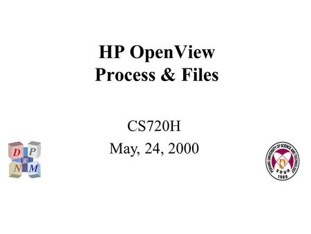 HP OpenView Process & Files CS720H May, 24, 2000.